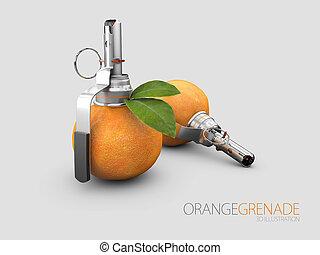 灰色, 隔離された, イラスト, 背景, オレンジ, 手榴弾, 3d