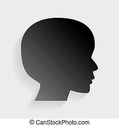 灰色, 頭, 人々, 印。, バックグラウンド。, ペーパー, 黒, 影