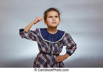 灰色, 頭, 指, 背景, 子供, 女の子, 考える