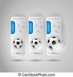 灰色, elements., ビジネス, fottballs, 現実的, infographic, デザイン, 旗, サッカー