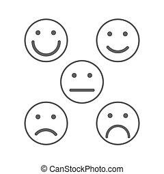 灰色, emoticons, 単純である, レベル, 顔, 満足, 等級, レート, smileys, 5, 白