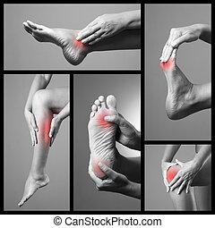 灰色, feet., いくつか, コラージュ, バックグラウンド。, 人間, 痛み, 体, 写真, 女, マッサージ, legs., 女性, 部分, foot., 傷