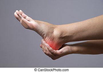 灰色, feet., 人間, 痛み, マッサージ, 体, 女性, 背景, foot.