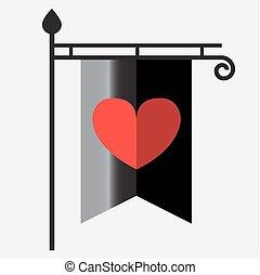 灰色, heart., 型, 優勝旗, post., 旗, flagpole., シルエット, 赤