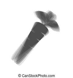 灰色, illustration., 印, バックグラウンド。, ニンジン, shaked, vector., 白, アイコン