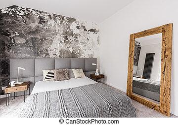 灰色, king-size, ベッド, 寝室