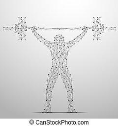 灰色, weightlifter, poly