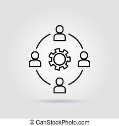 灰色, work., グループ, 従業員, 線, アイコン, 背景, チーム