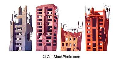 災害, ∥あるいは∥, 建物, 破壊された, 戦争, 都市, 後で