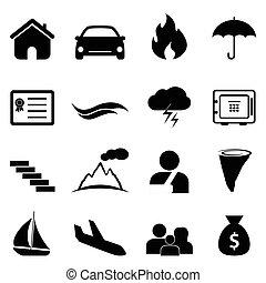 災害, セット, 保険, アイコン