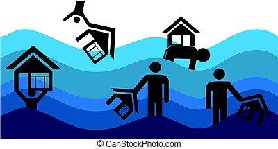 災害, 家, 洪水, ベクトル, insurance., 家, illustration.