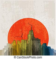 災難性, poster., 背景。, retro, grunge, sunset.