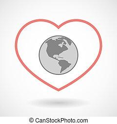 炉, 地域, 世界, 線, アメリカ, 地球, アイコン