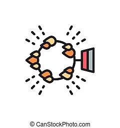 炎, 円, 火, 活躍の舞台, サーカス, 平ら, icon., 色, 線, リング