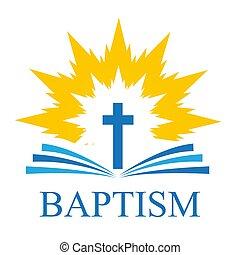 炎, 精神, 開いた, ロゴ, 交差点, 聖書, 背景