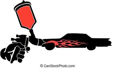 炎, 自動車, 銃, ペンキ, スプレー, ベクトル