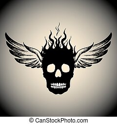 炎, 頭骨, 火, 翼