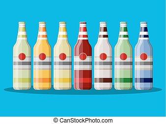 炭酸で飽和した飲み物, juice., ∥あるいは∥, びん