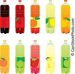 炭酸, セット, 隔離された, 飲み物