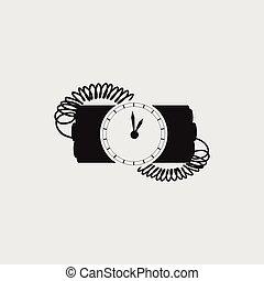 炸彈, 由于, 鐘, 定時器, 矢量