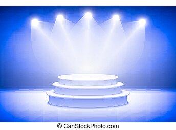 点はつく, 暗い, 演壇, 光っていること, 背景, プレゼンテーション, 3d