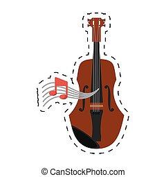 点を打たれた, 木製である, メモ, 道具, バイオリン, 音楽, 線
