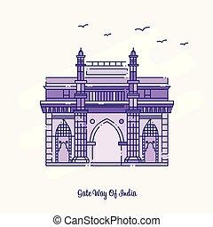 点を打たれた, 紫色, インド, イラスト, スカイライン, ベクトル, 方法, ランドマーク, 門, 線