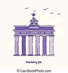 点を打たれた, 紫色, brandenburg, イラスト, スカイライン, ベクトル, ランドマーク, 門, 線