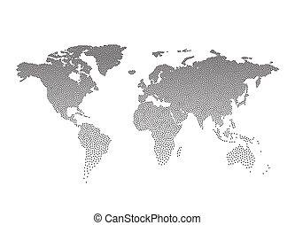 点を打たれた, map., イラスト, ベクトル, 黒, 世界