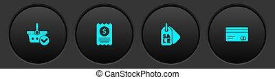 点検, セット, クレジット, 財政, バスケット, タグ, カード, ベクトル, icon., 印, ペーパー, 買い物, 売出価格