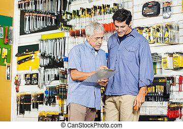 点検, チェックリスト, 父, 息子, 工具店