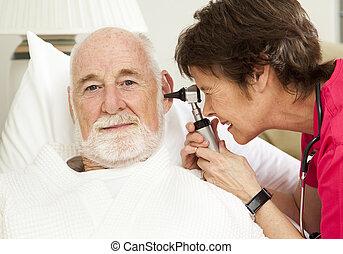 点検, 健康, 耳, 家, 看護婦