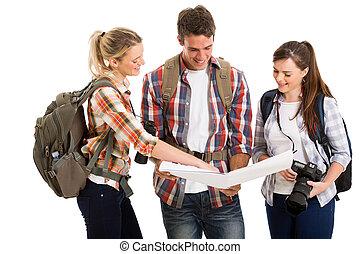 点検, 地図, 方向, グループ, 観光客