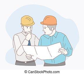 点検, 細部, サイト, 建設, チーム, エンジニア