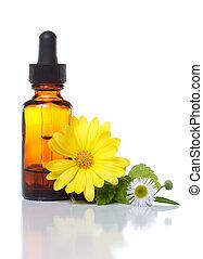 点滴器, aromatherapy, びん, 薬, 草, ∥あるいは∥