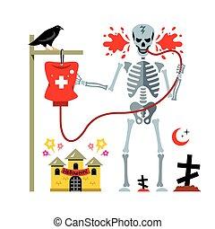 点滴器, illustration., halloween., ベクトル, 漫画, スケルトン