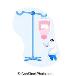 点滴器, operation., 特徴, detoxification., 白, 医療補助員, 手術, の間, ...