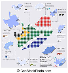 点, そして, 旗, 地図, の, 南アフリカ, infographic, デザイン