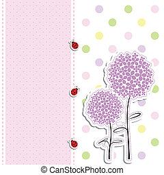 点, カード, 背景, テントウムシ, デザイン, 花, 紫色, ポルカ