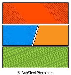 点, スタイル, 芸術, テンプレート, 漫画, パターン, ポンとはじけなさい, 色, ベクトル, 背景, ブランク, レイアウト