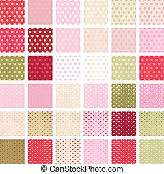 点, セット, ポルカ, 抽象的, pattern., seamless, 36, レトロ, textures.