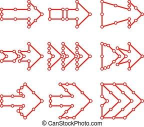 点, ライン, 接続される, 矢, 形態