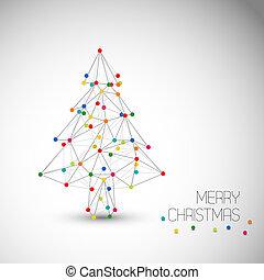点, 作られた, ライン, 抽象的, 木, ベクトル, クリスマスカード