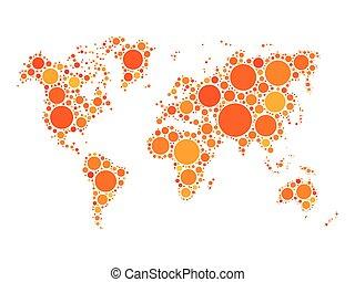 点, 地図, 作られた, モザイク, 世界
