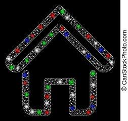 点, 家, 明るい, ネットワーク, 火炎信号, 噛み合いなさい