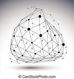 点, 抽象的, オブジェクト, ライン, 黒, ゆがめられた, 白, 3d
