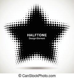 点, 星, ロゴ, パターン, 抽象的, ゆがめられた, halftone, バックグラウンド。, ベクトル, デザイン...