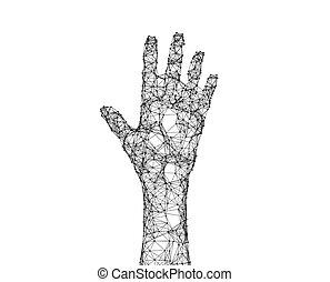 点, 背景, concept., ライン, 隔離された, イラスト, 手, 接続, 人間, 白, 技術, 未来派, 3d