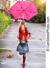 点, 身に着けていること, 傘, ポルカ, ブーツ, 雨, 子供, 赤