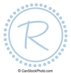 点, 青, monogram, ラウンド, r